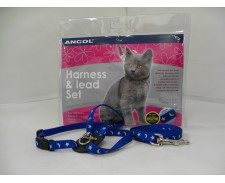 Cat Nylon Harness & Lead Reflective Print -  Blue by Ancol