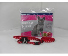 Cat Nylon Harness & Lead Reflective Print -  Red by Ancol